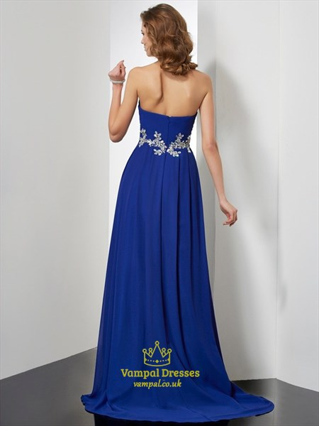 A Line Royal Blue Sweetheart Sleeveless Applique Chiffon Prom Dress