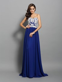 Elegant Royal Blue Strapless Applique Chiffon Prom Dress With Train