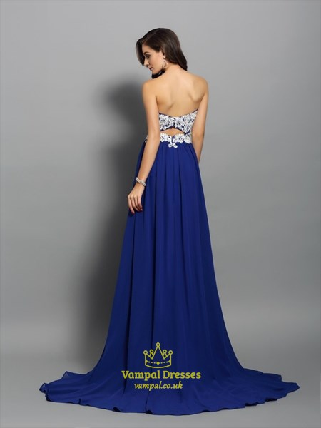 Elegant Royal Blue Strapless Applique Chiffon Prom Dress With Train
