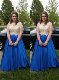A Line Bateau Neck Beading Applique Satin Plus Size Prom Dress