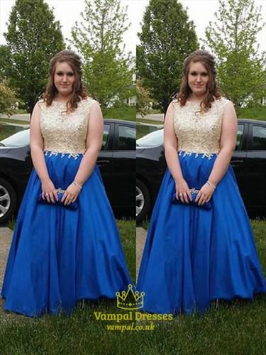 A Line Bateau Neck Beading Applique Satin Plus Size Prom Dress