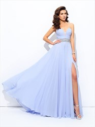 Lavender Sweetheart Neckline Beaded Chiffon Prom Dress With Split