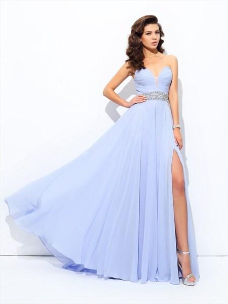 Lavender Sweetheart Neckline Beaded Chiffon Prom Dress With Split