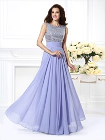 A Line Bateau Neck Pleated Beading Sequin Top Chiffon Prom Dress