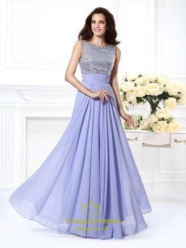 A Line Bateau Neck Pleated Beading Sequin Top Chiffon Prom Dress