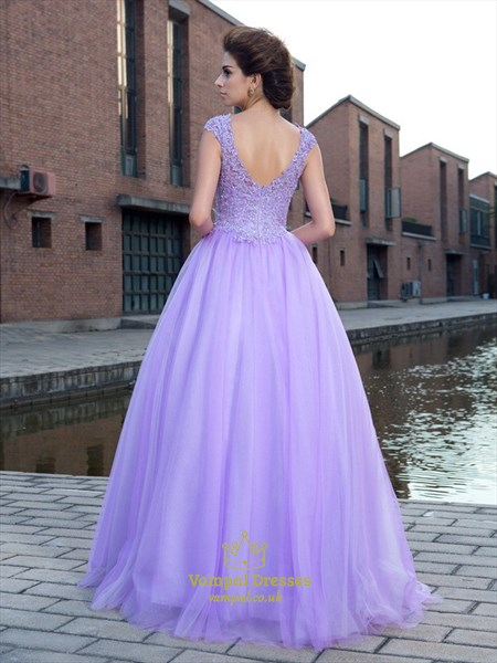 Lilac A Line V Neck Cap Sleeve Beaded Applique Tulle Long Prom Dress