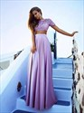 High Neck Short Sleeve Lace Top Satin Bottom Two Piece Prom Dress