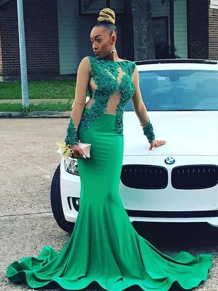 Bateau Sheer Long Sleeve Beading Applique Satin Mermaid Prom Dress