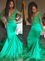 V Neck Long Sleeve Beading Sheath Floor Length Mermaid Prom Dress