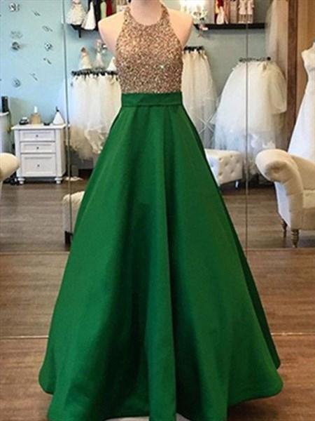 A Line Hunter Green Halter Neck Beaded Sleeveless Satin Prom Dress