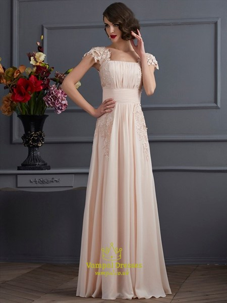 Square Neckline Short Sleeve Beading Applique Ruched Prom Dress