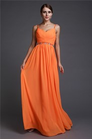 Spaghetti Strap Sleeveless Ruched Bodice Beading Chiffon Prom Dress