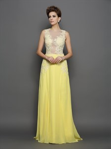 A-Line High Neck Sleeveless Illusion Back Applique Chiffon Prom Dress