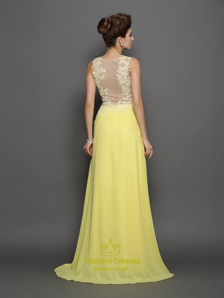 A-Line High Neck Sleeveless Illusion Back Applique Chiffon Prom Dress