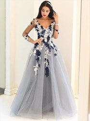 Silve A Line V Neck Sheer Long Sleeve Applique Tulle Prom Dress