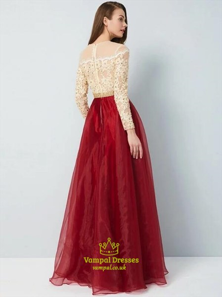 A Line High Neck Long Sleeve Beaded Applique Organza Prom Dress
