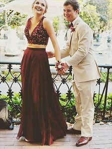 Burgundy A Line V Neck Sleeveless Lace Top Tulle Two Piece Prom Dress