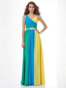 Multi Color V-Neck Cap Sleeve Beaded Ruched Chiffon Prom Dress