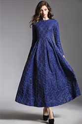 Simple A Line Royal Blue High Neck Long Sleeve Tea Length Prom Dress