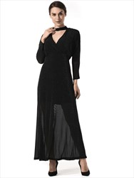Elegant A Line Black V Neck Long Sleeve Floor Length Prom Dress