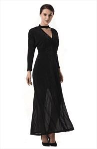 Elegant A Line Black V Neck Long Sleeve Floor Length Prom Dress