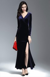Navy Blue V Neck Long Sleeve Ruched Sheath Long Prom Dress With Split