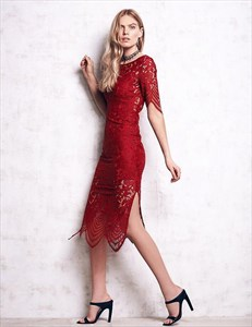 Half Sleeve Keyhole Back Sheath Tea Length Dress With Side Split