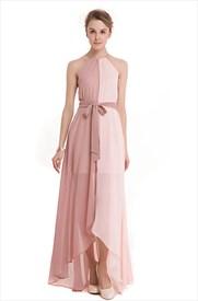 A Line Pink Halter Neck Sleeveless Chiffon Maxi Dress With Belt