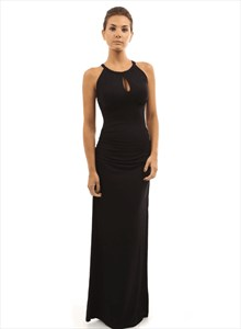 Halter Neck Sleeveless Keyhole Ruched Sheath Prom Dress With Split