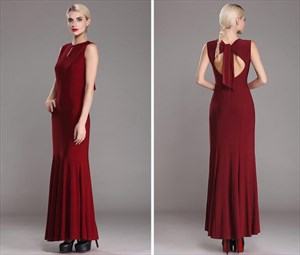 Burgundy High Neck Sleeveless Keyhole Back Sheath Floor Length Dress