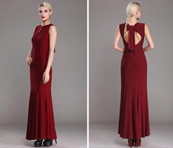 Burgundy High Neck Sleeveless Keyhole Back Sheath Floor Length Dress