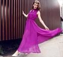 A Line High Neck Keyhole Pleated Chiffon Prom Dress With Slits