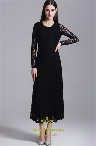Simple Black Jewel Neck Long Sleeve Sheath Tea Length Lace Prom Dress