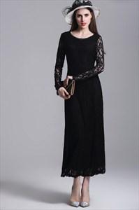 Simple Black Jewel Neck Long Sleeve Sheath Tea Length Lace Prom Dress