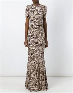 Simple High Neck Short Sleeve V Back Leopard Print Long Prom Dress