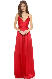 Red Spaghetti Strap V Neck Sleeveless Open Back Satin Prom Dress