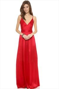 Red Spaghetti Strap V Neck Sleeveless Open Back Satin Prom Dress