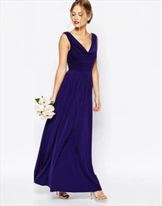 Elegant A Line Royal Blue V Neck Sleeveless Ruched Long Prom Dresses