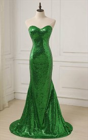 Simple Green Sweetheart Neckline Sleeveless Sequin Long Prom Dress