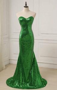 Simple Green Sweetheart Neckline Sleeveless Sequin Long Prom Dress