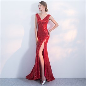 Elegant Red V Neck Sleeveless Sheath Sequin Prom Dress With Split