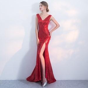 Elegant Red V Neck Sleeveless Sheath Sequin Prom Dress With Split