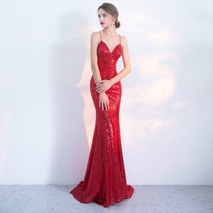 Red Spaghetti Strap V Neck Backless Sequin Prom Dress With Train