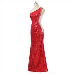 Elegant One Shoulder Sleeveless Sheath Sequin Prom Dress With Beading