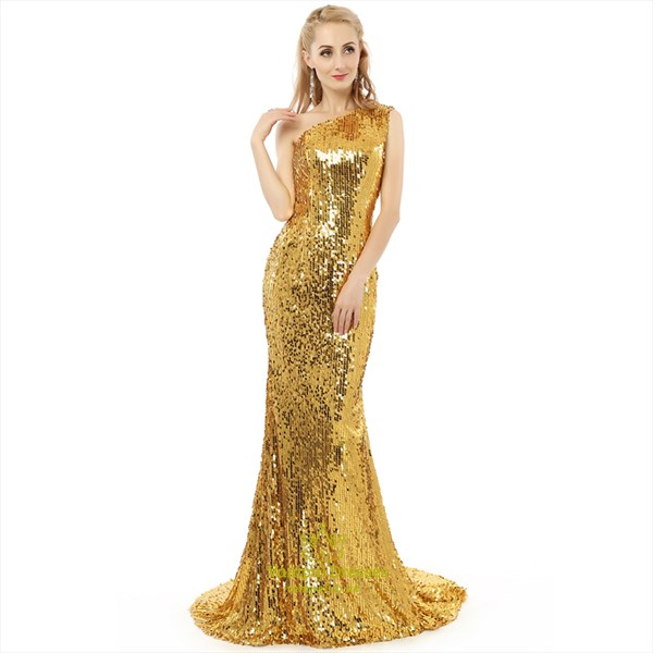 Yellow One Shoulder Sleeveless Sequin Long Prom Dress With Train