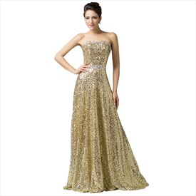 A Line Strapless Sleeveless Rhinestone Sequin Prom Dress With Lace Up