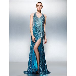 Turquoise Halter Neck Crystal Beading Sequin Prom Dress With Split