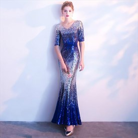 Sparkly V Neck Half Sleeve Sheath Floor Length Sequin Prom Dress