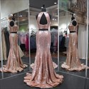 High Neck Keyhole Back Mermaid Two Piece Sequin Prom Dress With Split