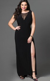 A Line Black Jewel Neck Sleeveless Plus Size Prom Dress With Split